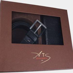 Кожаный черный подарочный набор ATS-1850 216196
