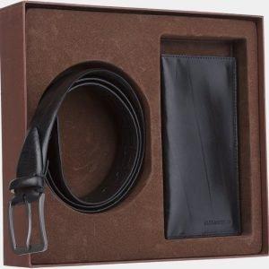 Кожаный черный подарочный набор ATS-1851