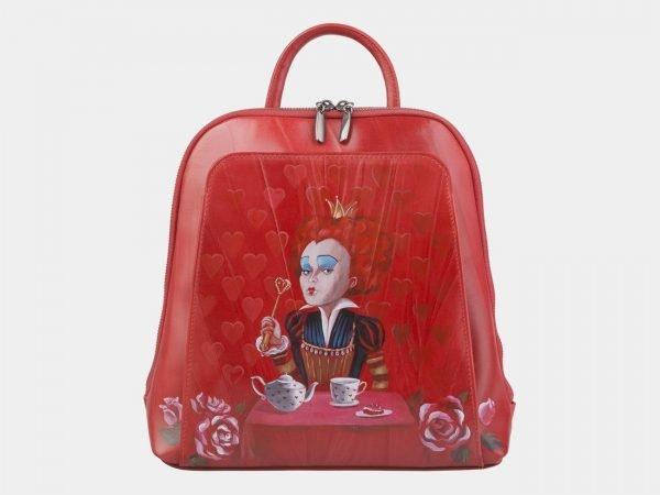 Удобный красный рюкзак с росписью ATS-2472