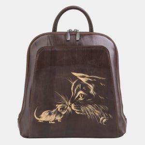 Кожаный коричневый рюкзак с росписью ATS-2487