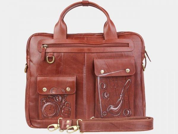 Кожаный светло-коричневый портфель с росписью ATS-1937