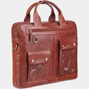Модный светло-коричневый портфель с росписью ATS-1937