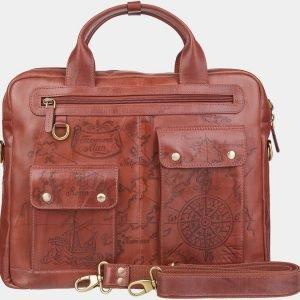 Деловой светло-коричневый портфель с росписью ATS-1938