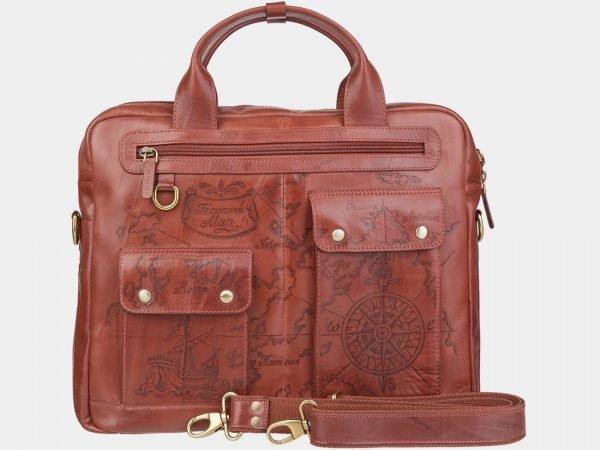 Стильный светло-коричневый портфель с росписью ATS-1938