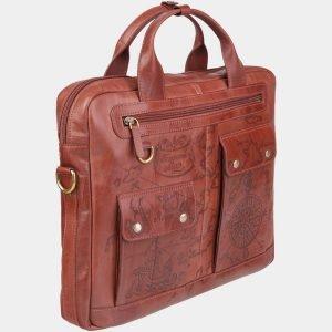 Стильный светло-коричневый портфель с росписью ATS-1938 216112