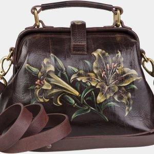 Солидная коричневая сумка с росписью ATS-1950