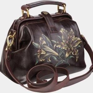 Солидная коричневая сумка с росписью ATS-1950 216104