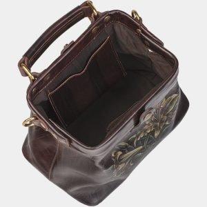 Солидная коричневая сумка с росписью ATS-1950 216105