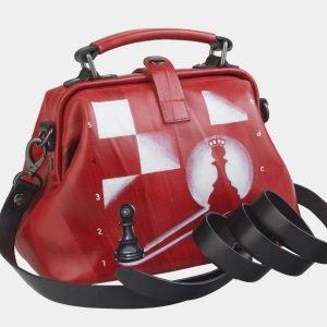 Уникальная красная сумка с росписью ATS-2497 215114