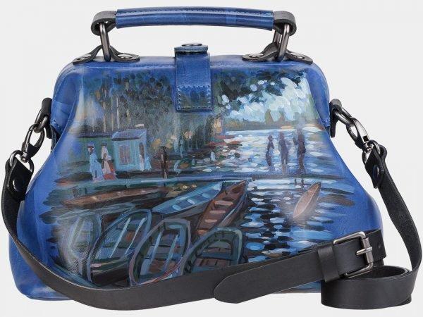 Уникальная голубовато-синяя сумка с росписью ATS-1956