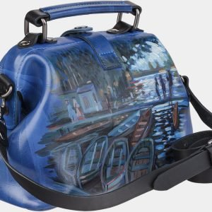 Уникальная голубовато-синяя сумка с росписью ATS-1956 216099