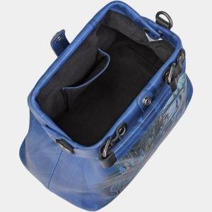 Уникальная голубовато-синяя сумка с росписью ATS-1956 216101