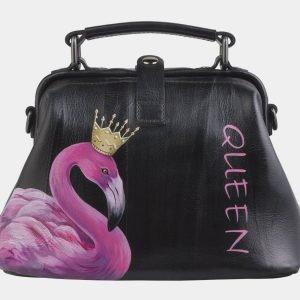 Вместительная черная сумка с росписью ATS-2505