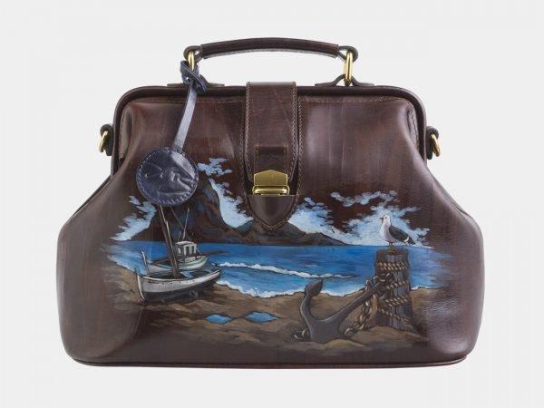 Солидная коричневая сумка с росписью ATS-2511