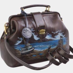 Солидная коричневая сумка с росписью ATS-2511 215067
