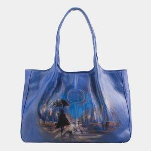 Стильная голубовато-синяя сумка с росписью ATS-2514