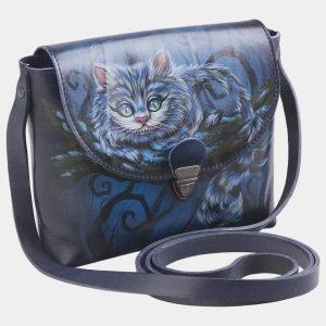 Кожаный синий клатч с росписью ATS-2499 215105