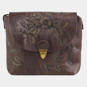 Кожаный коричневый клатч с росписью ATS-2503