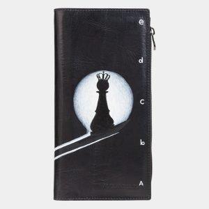 Функциональный черный портмоне с росписью ATS-2038