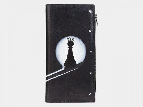Неповторимый черный портмоне с росписью ATS-2038
