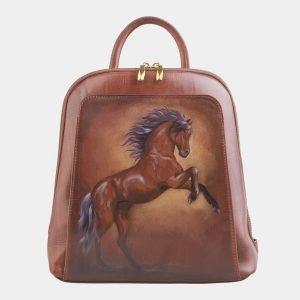 Функциональный светло-коричневый рюкзак с росписью ATS-2529