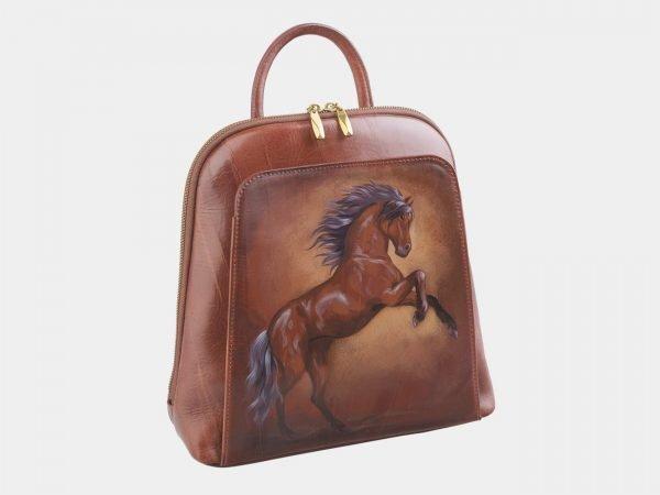 Кожаный светло-коричневый рюкзак с росписью ATS-2529