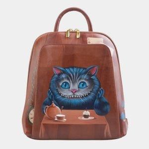 Деловой светло-коричневый рюкзак с росписью ATS-2531