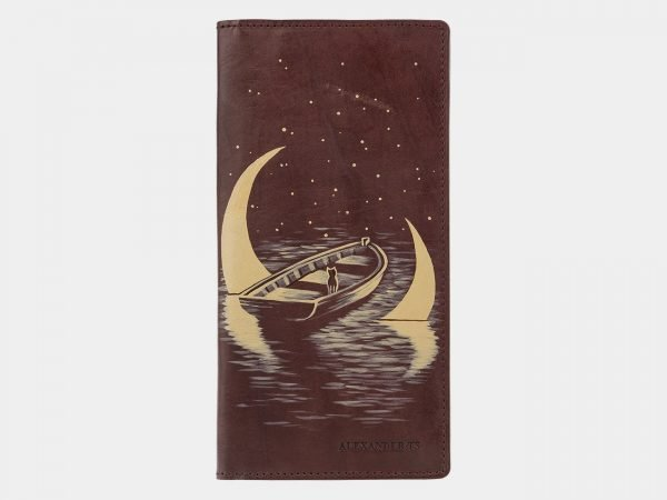 Модный коричневый портмоне с росписью ATS-2039