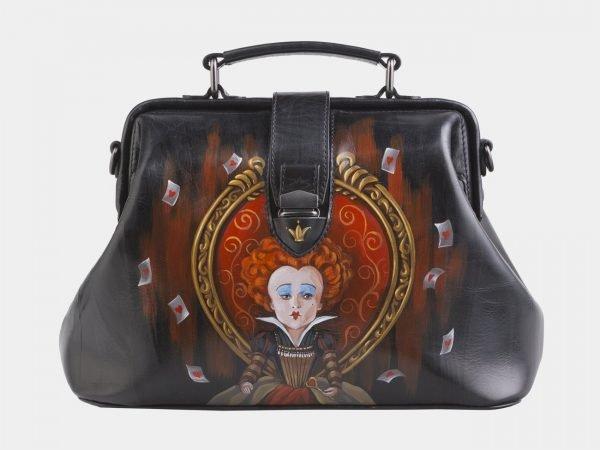 Удобная черная сумка с росписью ATS-2512