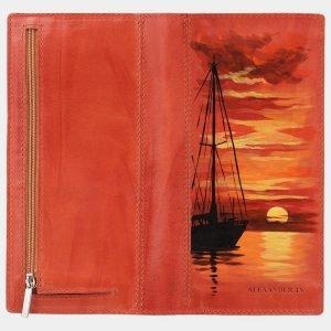 Удобный оранжевый портмоне с росписью ATS-2044 215904