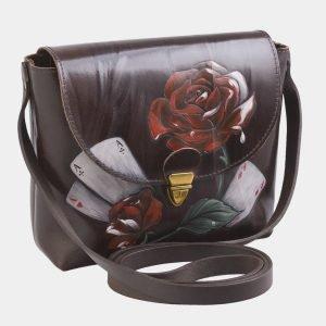 Солидный коричневый клатч с росписью ATS-2516 215049