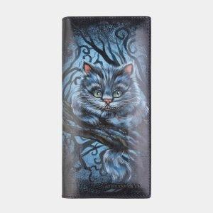 Уникальный синий портмоне с росписью ATS-2521