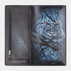 Уникальный синий портмоне с росписью ATS-2521 215029