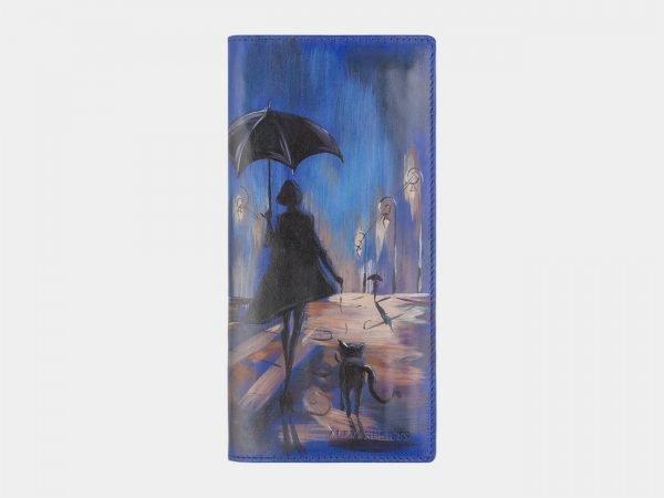 Кожаный голубовато-синий портмоне с росписью ATS-2522