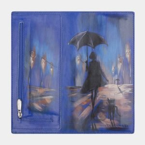Кожаный голубовато-синий портмоне с росписью ATS-2522 215025