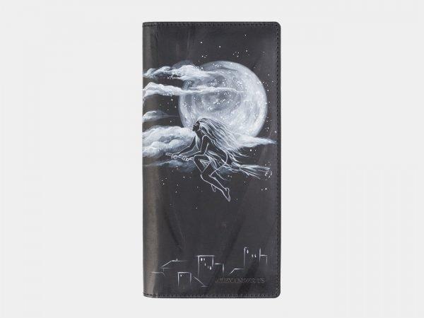 Удобный черный портмоне с росписью ATS-2524