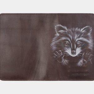 Кожаный коричневый аксессуар с росписью ATS-2535 214980