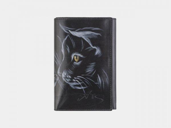 Кожаный черный аксессуар с росписью ATS-2536