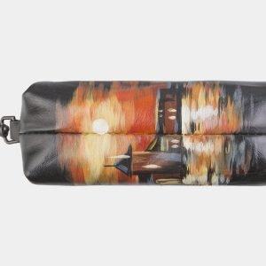 Кожаный черный аксессуар с росписью ATS-2585