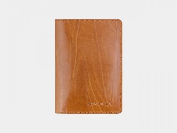 Кожаная светло-жёлтая обложка для паспорта ATS-2543