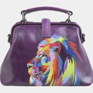 Вместительная фиолетовая сумка с росписью ATS-2601