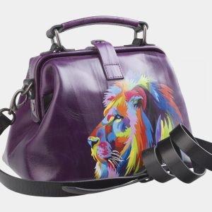 Вместительная фиолетовая сумка с росписью ATS-2601 214774