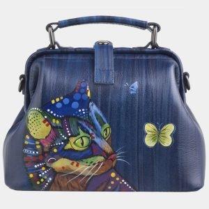Уникальная синяя сумка с росписью ATS-2602