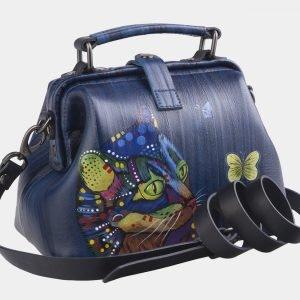 Уникальная синяя сумка с росписью ATS-2602 214769