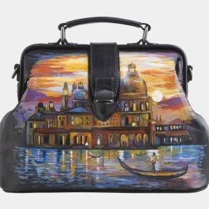 Удобная черная сумка с росписью ATS-2603