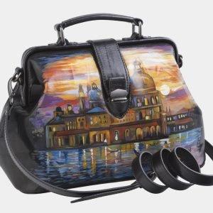 Удобная черная сумка с росписью ATS-2603 214764
