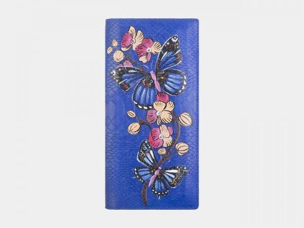 Деловой голубовато-синий портмоне с росписью ATS-2595