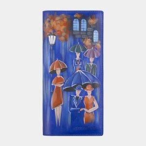 Кожаный голубовато-синий портмоне с росписью ATS-2597