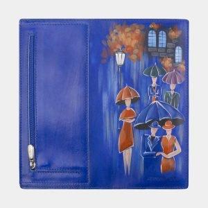 Деловой голубовато-синий портмоне с росписью ATS-2597