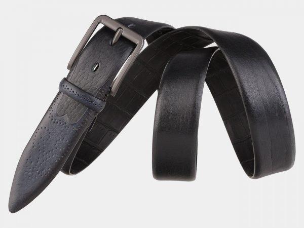 Кожаный черный мужской классический ремень ATS-1992
